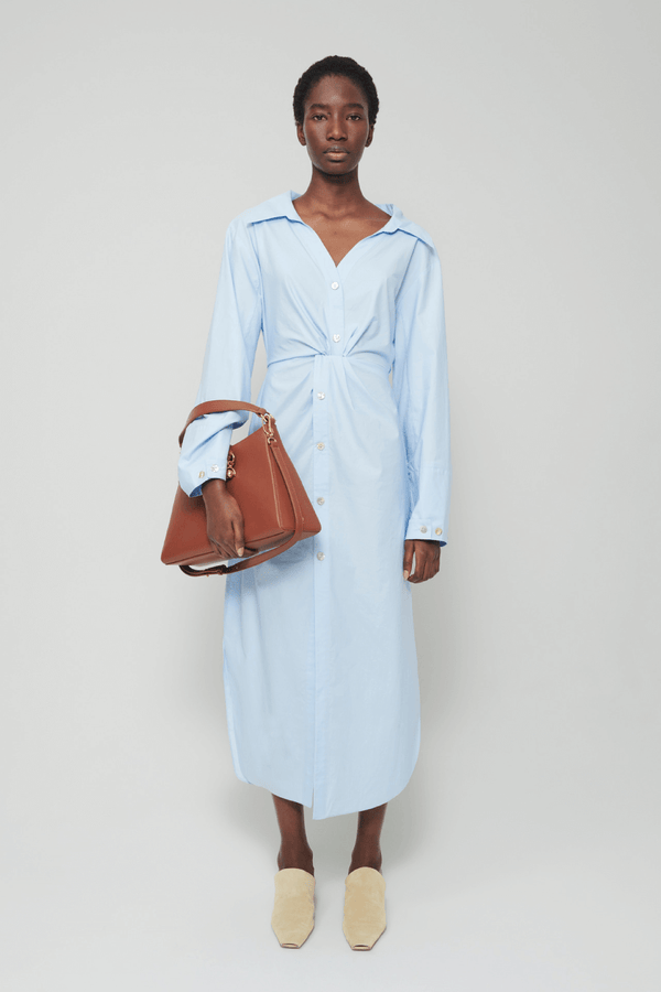Nanushka NW21RSDR00351 Ayse Cotton Twist Front Shirt Dress - Sky Blue Front