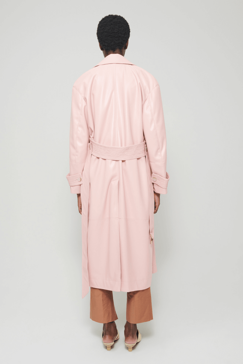Nanushka NW21RSOW00132 Amal Vegan Leather Trench - Pink Back