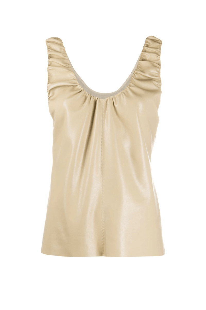 Nanushka NW21RSTP02076 Yael Vegan Leather Ruched Top - Sandstone