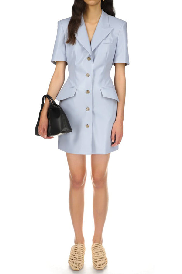 Nanushka NW21SSDR02752 Anco Vegan Leather Blazer Dress - Dusty Blue Front