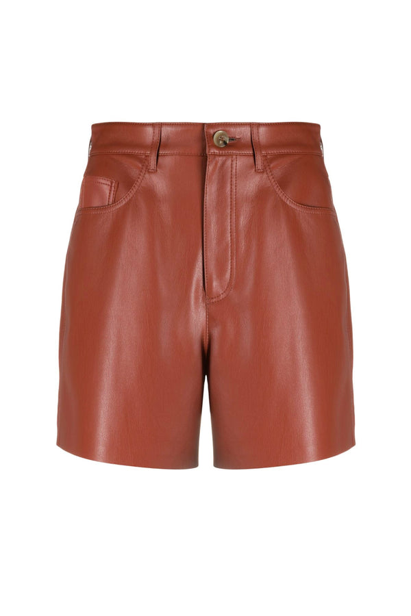 Nanushka NW21SSST00352 Leana Vegan Leather Shorts - Brick