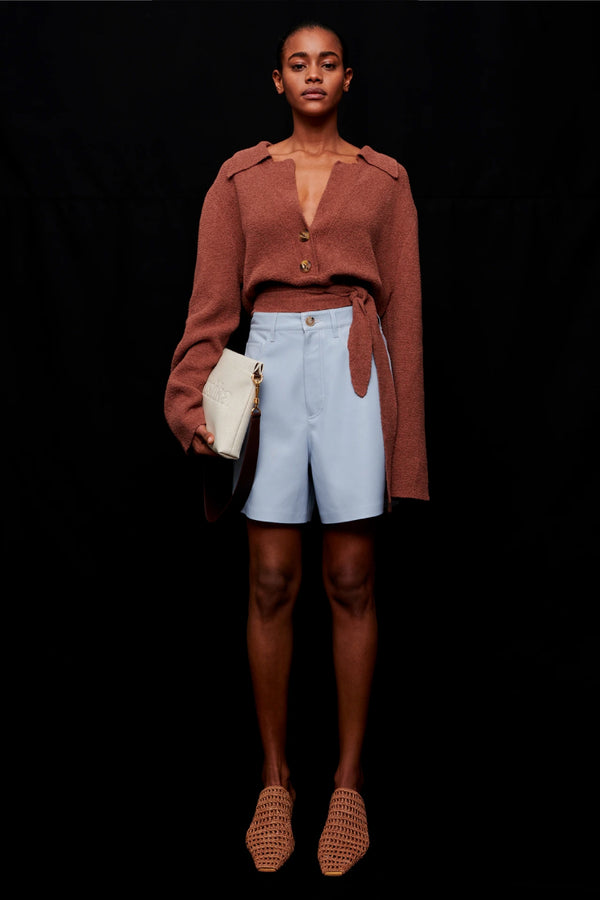 Nanushka NW21SSST00352 Leana Vegan Leather Shorts - Dusty Blue Front