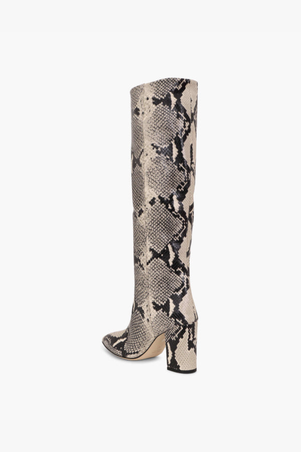 Paris Texas PX166 XPN01 Block Heel Python Print Boot - Natural Back