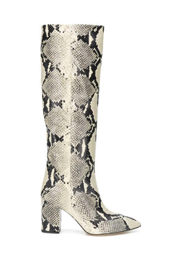 Paris Texas PX166 XPN01 Block Heel Python Print Boot - Natural