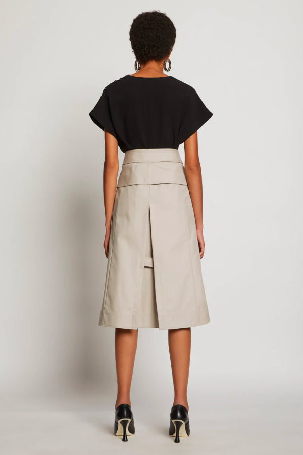 Proenza Schouler R2035006 Cotton Trench Skirt - Khaki Back