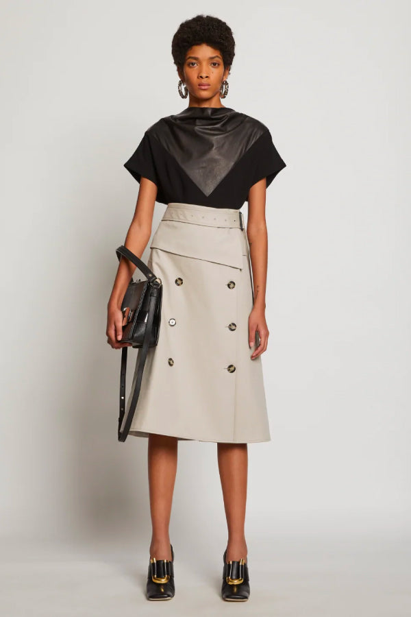 Proenza Schouler R2035006 Cotton Trench Skirt - Khaki Front