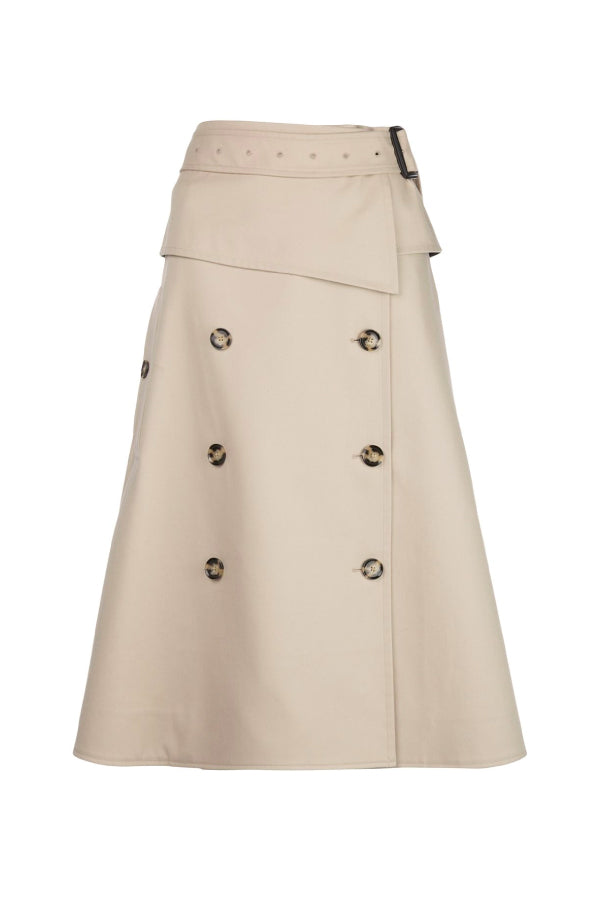 Proenza Schouler R2035006 Cotton Trench Skirt - Khaki
