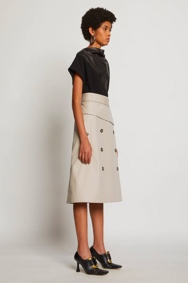 Proenza Schouler R2035006 Cotton Trench Skirt - Khaki Side