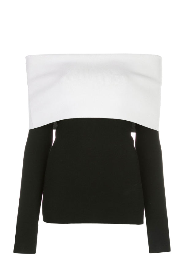 Proenza Schouler R2037464 Two Tone Knit Top - Black/ White