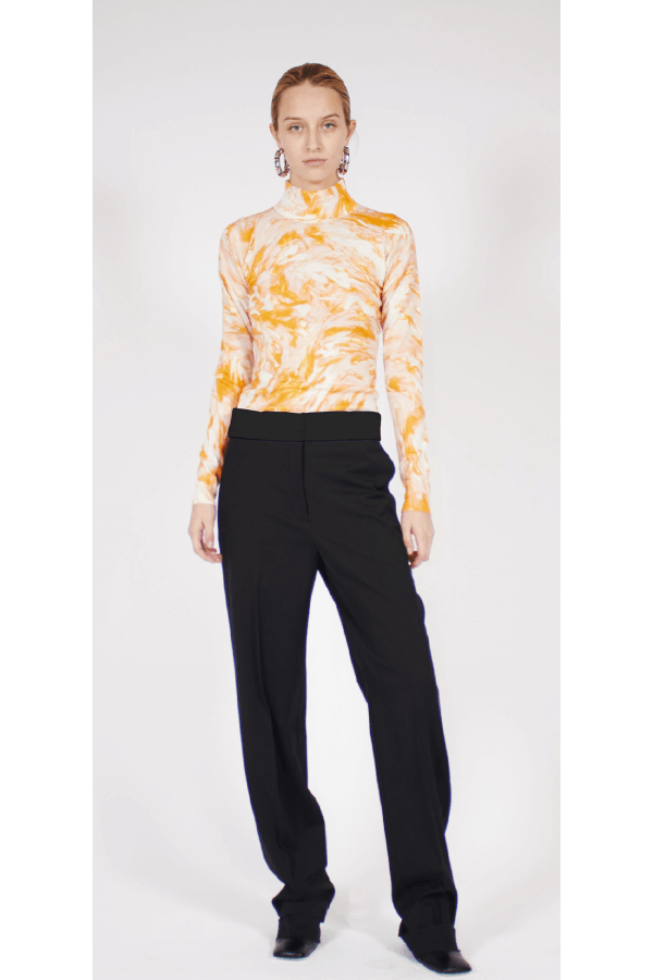 Proenza Schouler Feather Print Pullover - White/ Yellow/ Pink