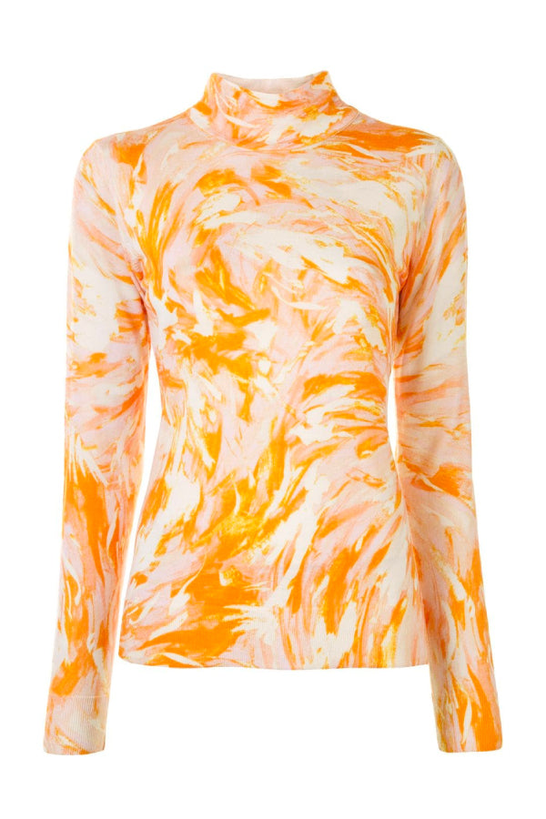 Proenza Schouler R2037485 Feather Print Pullover - White/ Yellow/ Pink
