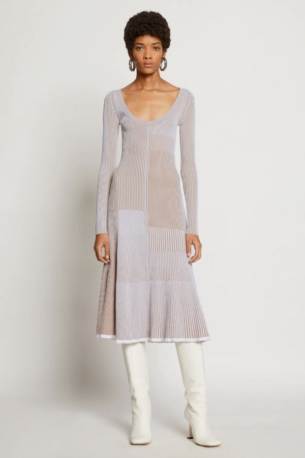 Proenza Schouler R2037487 Patchwork Knit Dress - White/ Khaki Front