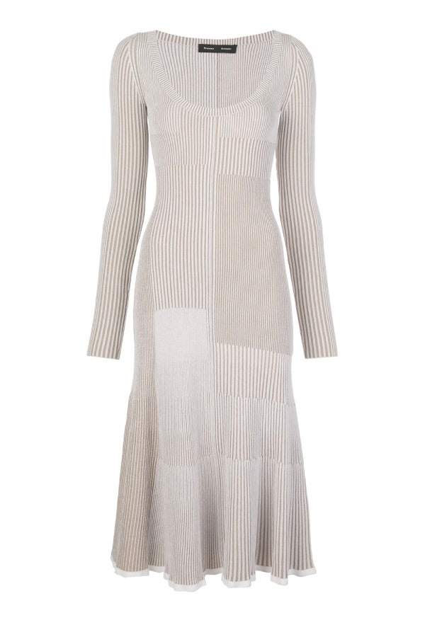 Proenza Schouler R2037487 Patchwork Knit Dress - White/ Khaki