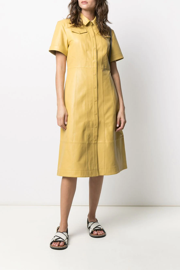 Proenza Schouler White Label Leather Shirt Dress - Citron