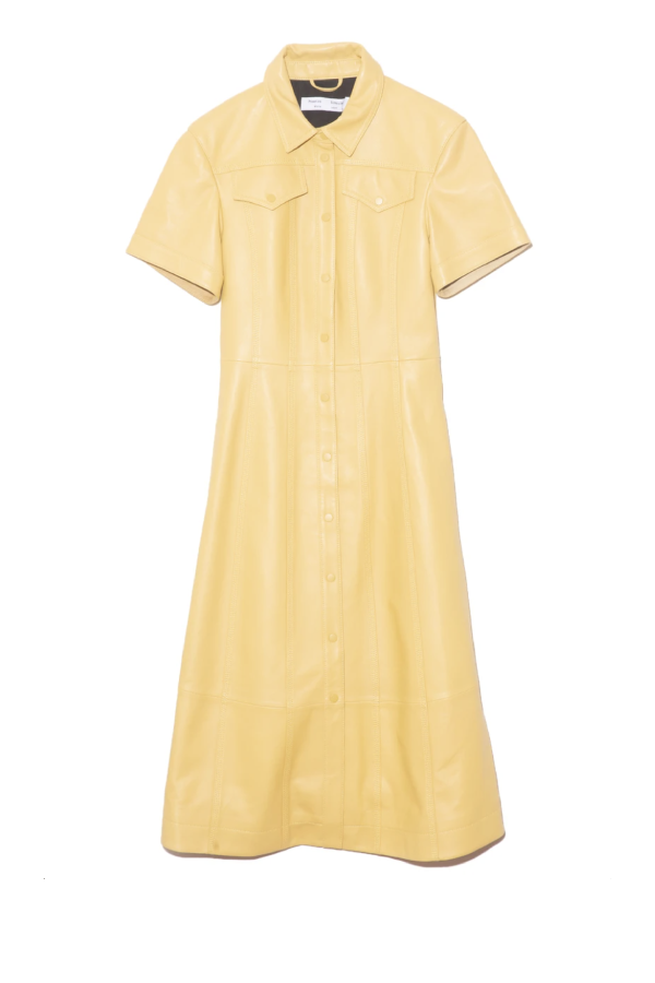 Proenza Schouler White Label WL2113154 Leather Shirt Dress - Citron