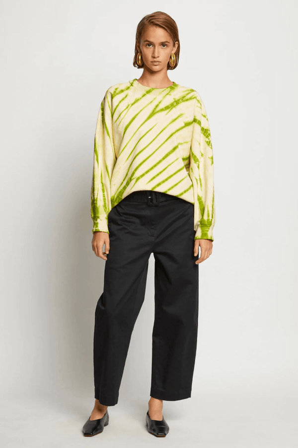 Proenza Schouler White Label WL2114144 Tie Dye Sweatshirt - Olive Green/ Pale Yellow Front