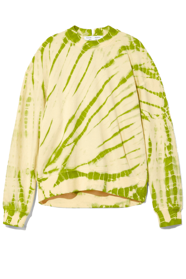 Proenza Schouler White Label WL2114144 Tie Dye Sweatshirt - Olive Green/ Pale Yellow