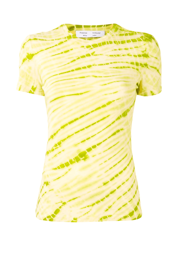Proenza Schouler White Label WL2114228 Tie Dye T-Shirt - Olive Green/ Pale Yellow