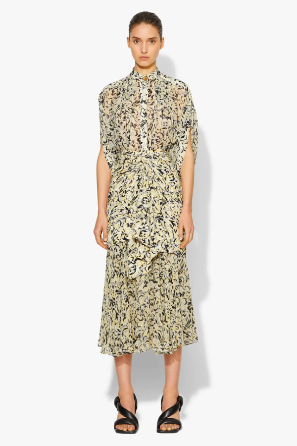 Proenza Schouler Printed Crepe Layered Skirt - Butter/ Black