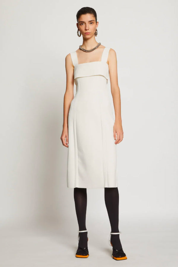 Proenza Schouler White Label W2037442 Compact Knit Tank Dress - Off White Front