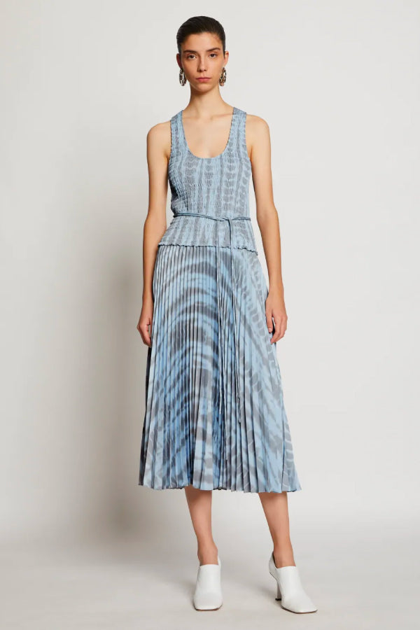 Proenza Schouler White Label WL2033079 Smocked Tie Dye Dress - Light Blue/ Grey Front