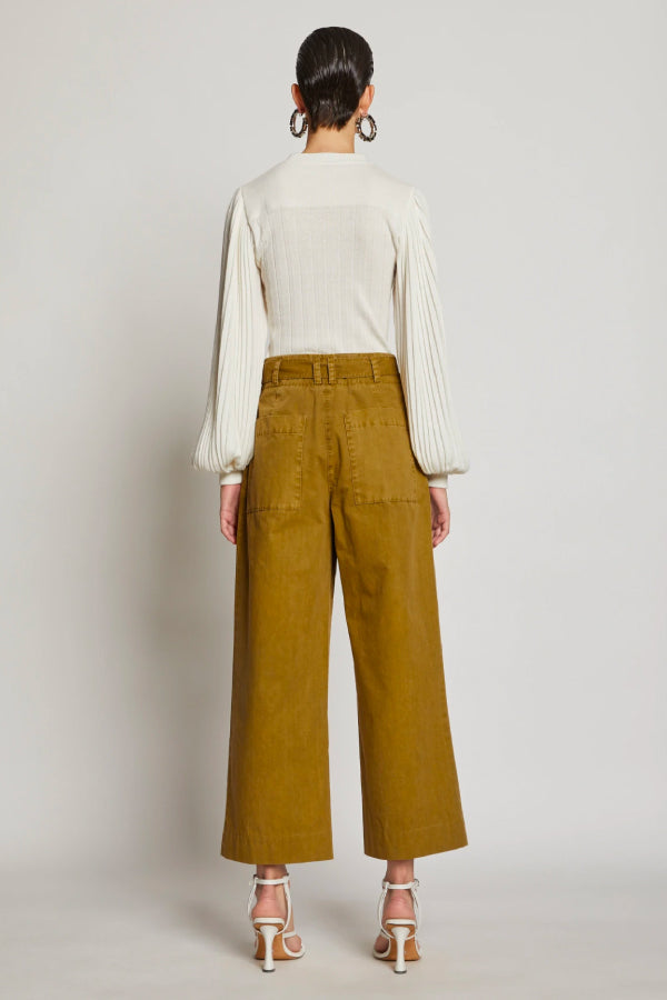 Proenza Schouler White Label WL2036010 Washed Cotton Belted Pant - Moss Back