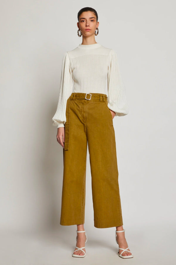 Proenza Schouler White Label WL2036010 Washed Cotton Belted Pant - Moss Front