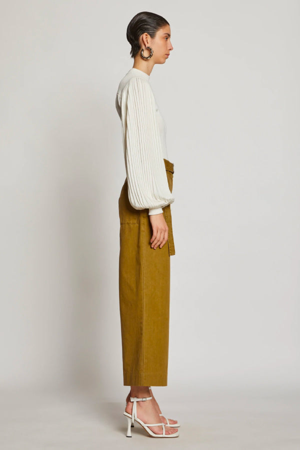 Proenza Schouler White Label WL2036010 Washed Cotton Belted Pant - Moss Side