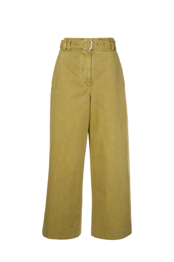 Proenza Schouler White Label WL2036010 Washed Cotton Belted Pant - Moss