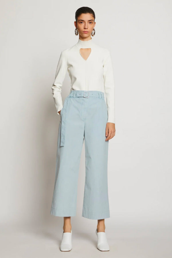 Proenza Schouler White Label WL2036010 Washed Cotton Belted Pant - Seal Grey Front