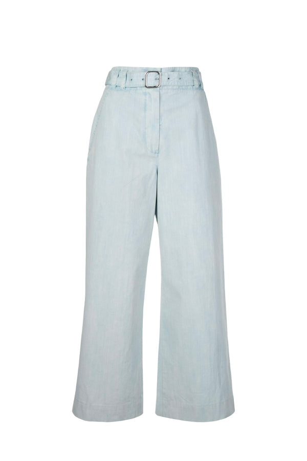 Proenza Schouler White Label WL2036010 Washed Cotton Belted Pant - Seal Grey
