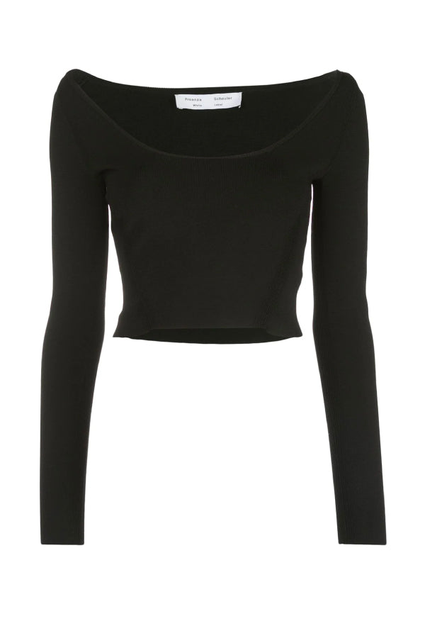 Proenza Schouler White Label WL2037441 Compact Knit Scoop Neck Top - Black