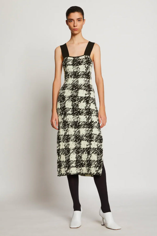Proenza Schouler White Label WL2037446Gingham Jacquard Knit Dress - Black/ Cream Front