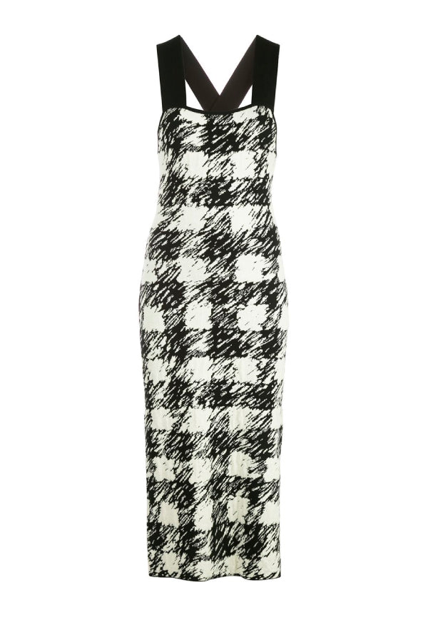 Proenza Schouler White Label WL2037446Gingham Jacquard Knit Dress - Black/ Cream