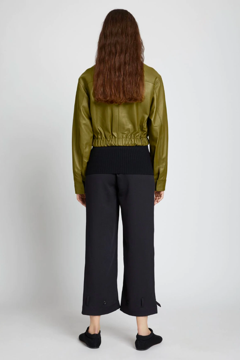 Proenza Schouler White Label WL2122019 Lightweight Leather Drawstring Waist Jacket - Military Back