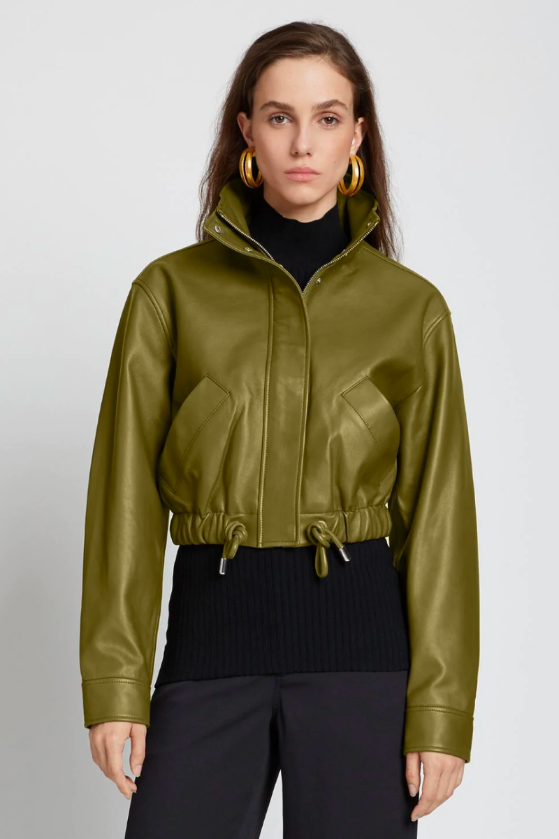 Proenza Schouler White Label WL2122019 Lightweight Leather Drawstring Waist Jacket - Military Front