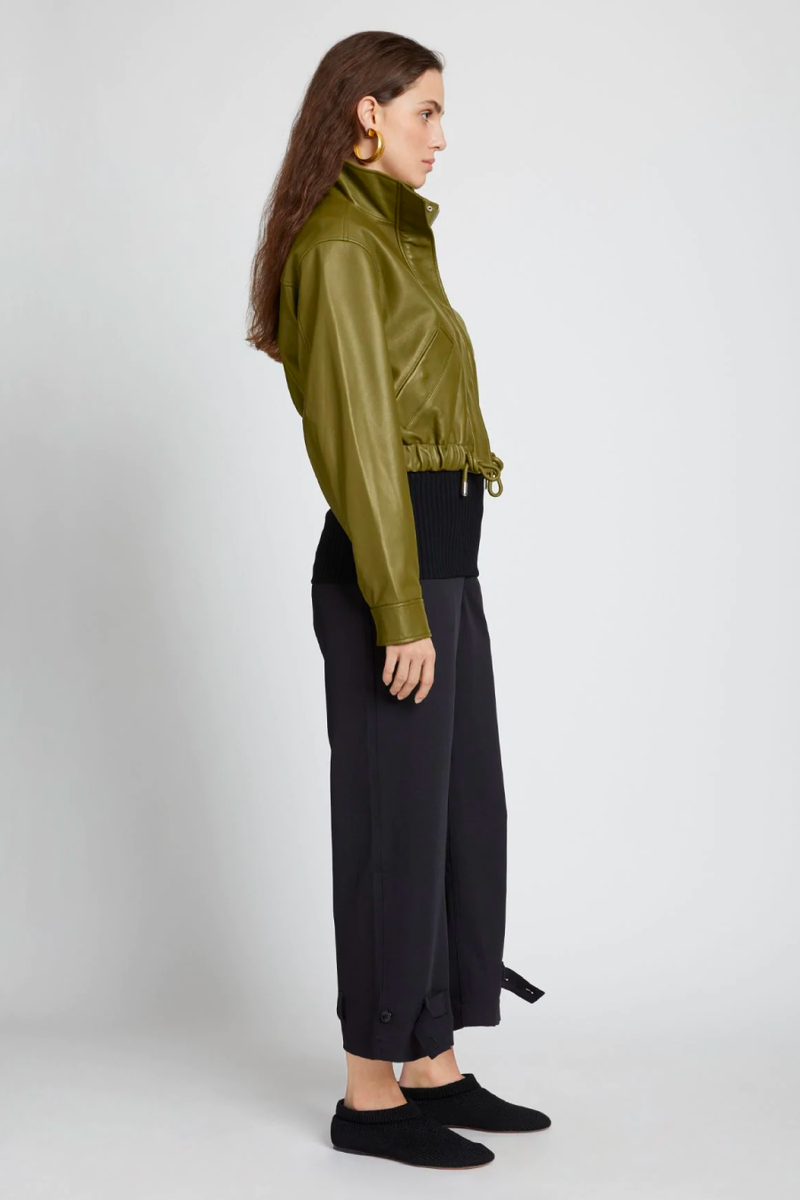 Proenza Schouler White Label WL2122019 Lightweight Leather Drawstring Waist Jacket - Military Side