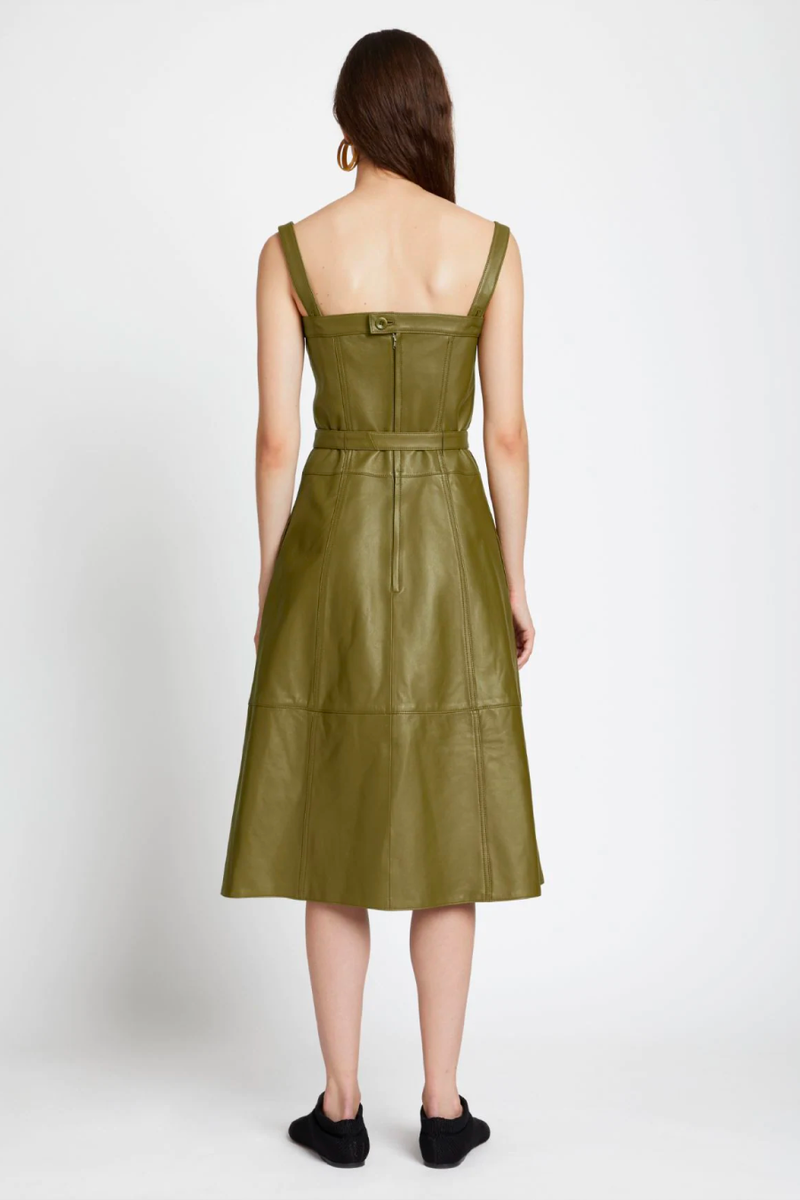 Proenza Schouler White Label WL2123159 Lightweight Leather Belted Dress - Military Back