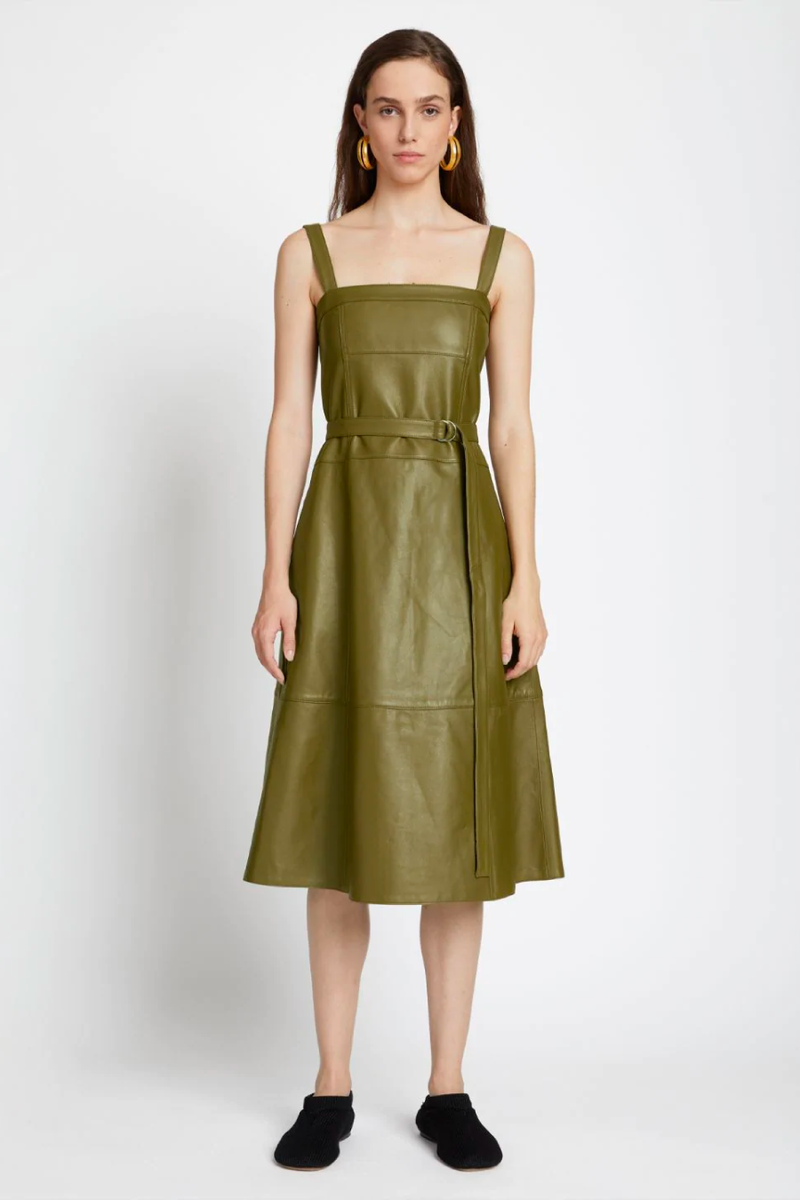 Proenza Schouler White Label WL2123159 Lightweight Leather Belted Dress - Military Front