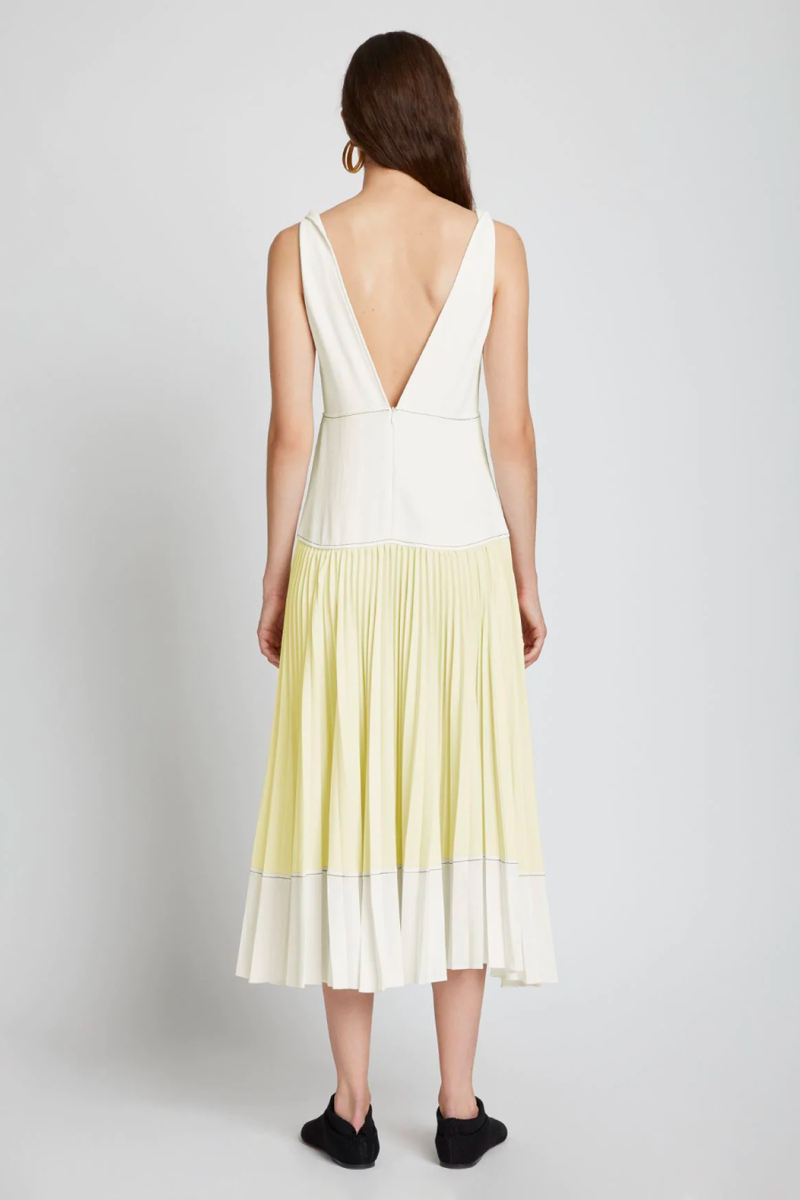 Proenza Schouler White Label WL2123163 Crepe Colourblocked Pleated Dress - White/ Pale Yellow Back