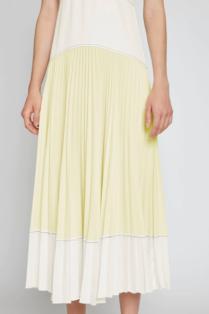 Proenza Schouler White Label WL2123163 Crepe Colourblocked Pleated Dress - White/ Pale Yellow Detail