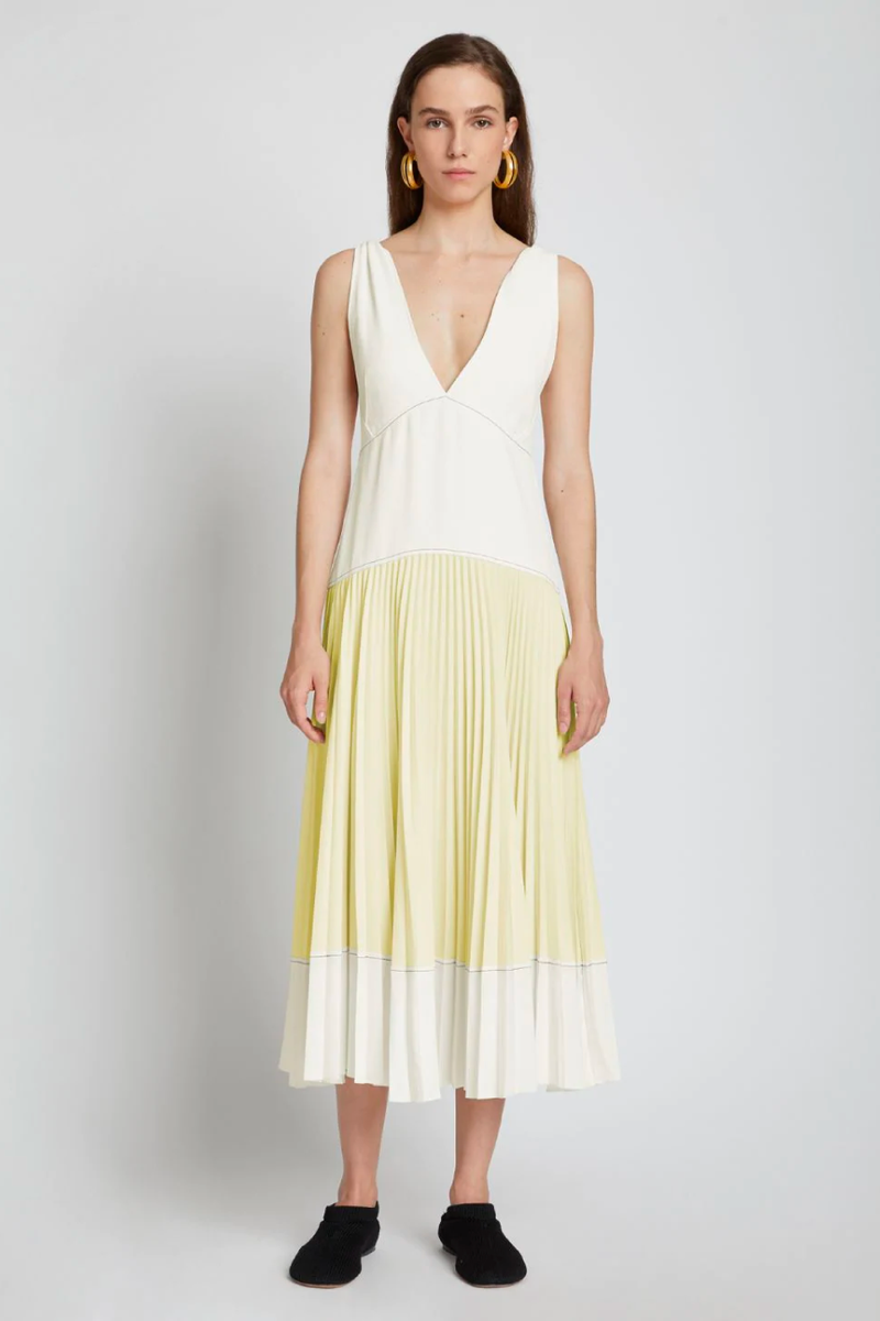 Proenza Schouler White Label WL2123163 Crepe Colourblocked Pleated Dress - White/ Pale Yellow Front