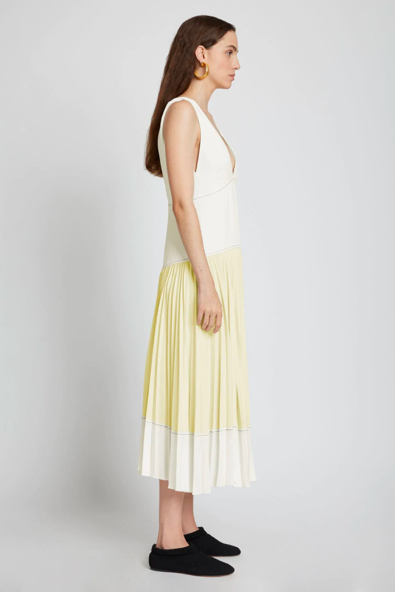 Proenza Schouler White Label WL2123163 Crepe Colourblocked Pleated Dress - White/ Pale Yellow Side
