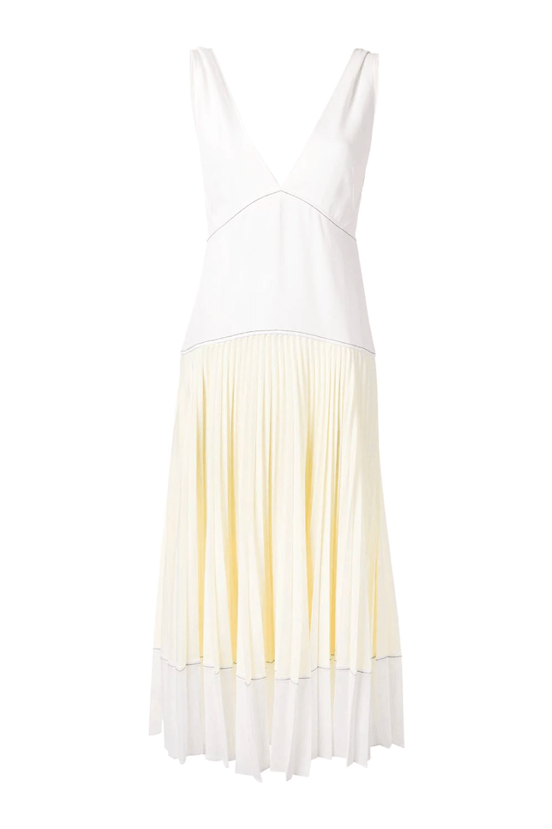 Proenza Schouler White Label WL2123163 Crepe Colourblocked Pleated Dress - White/ Pale Yellow