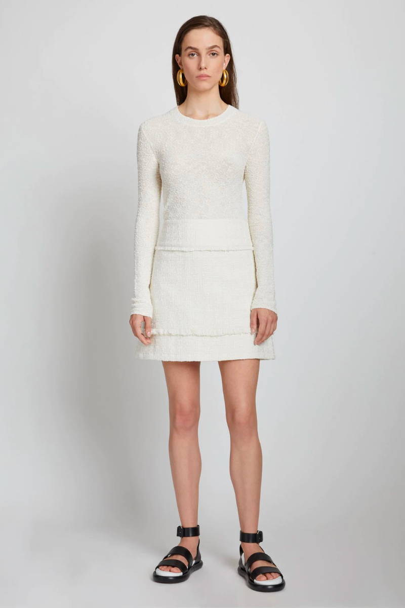 Proenza Schouler White Label WL2127572 Boucle Bobble Sweater - Off White Front