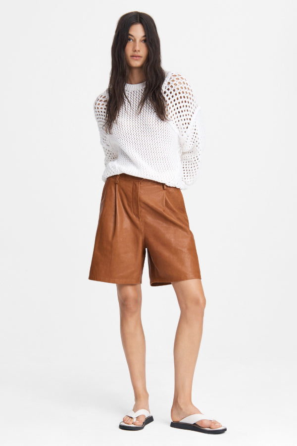 Rag & Bone WAW20P9011LU11 Ivy Leather Short - Tan Front