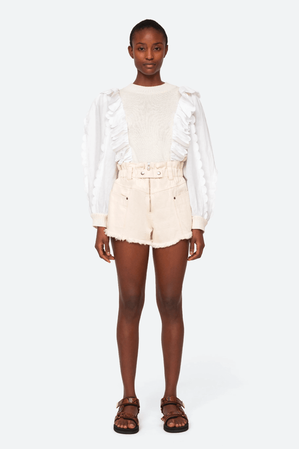 Sea NY SS21-43 Phillipa Denim Shorts - Cream Front