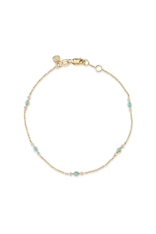 Sydney Evan BJP1216TQ Turquoise & Diamond Segment Bracelet - Yellow Gold