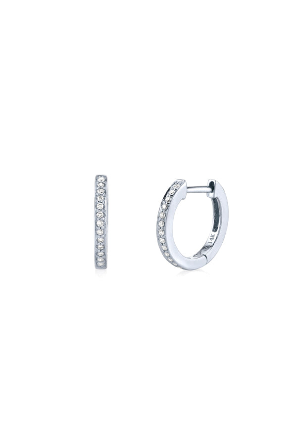 Sydney Evan E27820-W Pave Huggie Hoops - White Gold