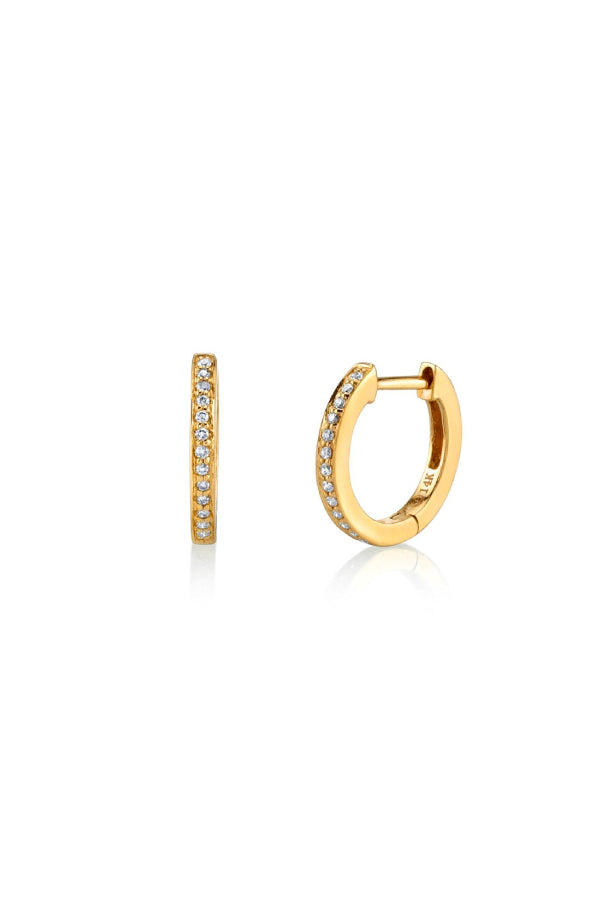 Sydney Evan E27820-Y Pave Huggie Hoops - Yellow Gold